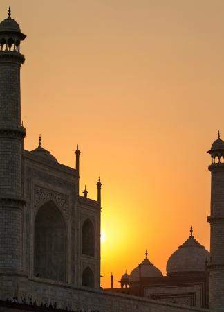 Taj Mahal sunset view from the banks of the Yamuna river photo