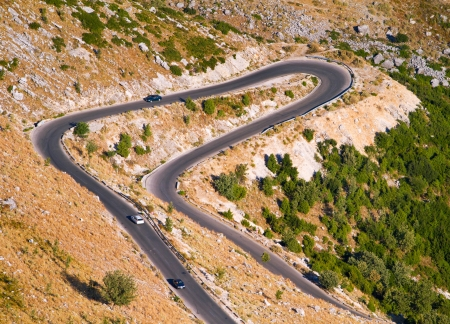 lacet: Aerial view of a mountain lacet road Stock Photo