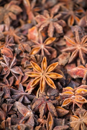 Close-up of star anise background photo