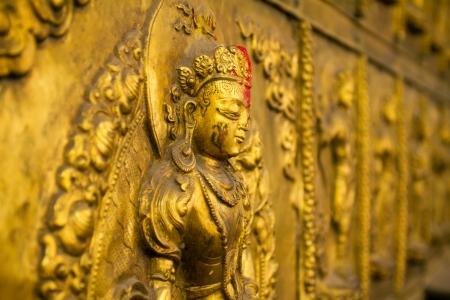 kathmandu: Beautiful metal figure of Saraswati, Hindu deity of learning and arts in Kathmandu, Nepal Stock Photo
