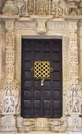 Close-up image of ancient India doors photo