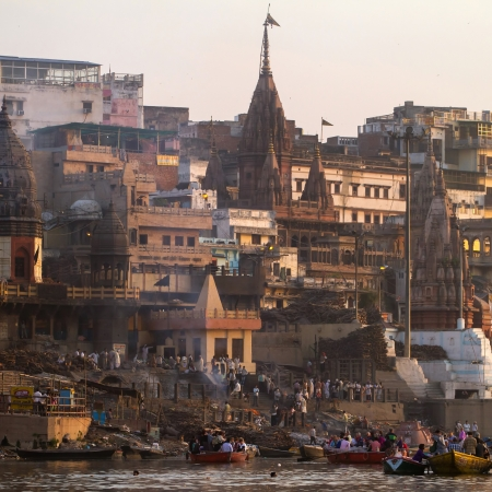 VARANASI, INDIA -23 MARCH  Manikarnika Ghat on the banks of Ganges river on March 23, 2013 in Varanasi, Uttar Pradesh, India  Manikarnika Ghat is main burning ghat and the most auspicious place for Hindu to be cremated