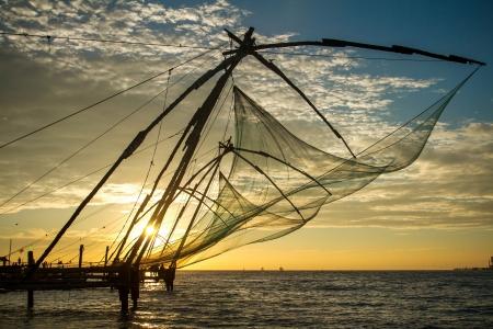 Chinese fishing net at sunrise in Cochin Fort Kochi , Kerala, India