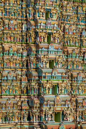 MADURAI, INDIA - MARCH 3  Meenakshi temple - one of the biggest and oldest Indian temples on March 3, 2013 in Madurai, Tamil Nadu, India  The 14 gateway towers called gopura ranging from 45 to 50m