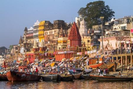 benares: VARANASI, INDIA - 23 MARCH  Ghats on the banks of Ganges river in holy city of Varanasi on March 23, 2013 in Varanasi, Uttar Pradesh, India