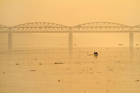View at the polluted Ganges river in Varanasi, Uttar Pradesh, India photo