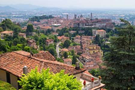 View of the upper city center of Bergamo, Lombardy, Italy photo