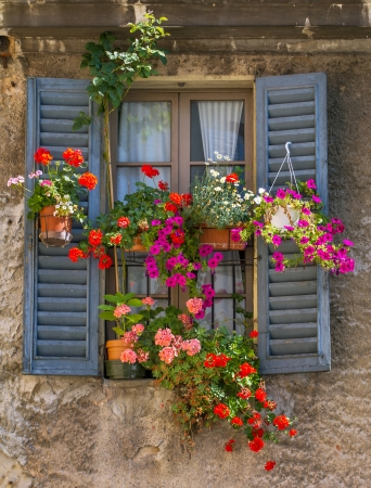 paint box: Vintage window with open wooden shutters and fresh flowers