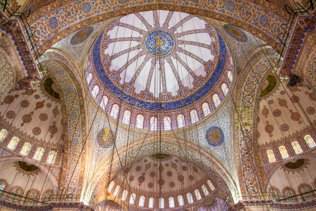 Ornamental interior of the Blue Mosque (Sultanahmet Camii), Istanbul, Turkey Editorial