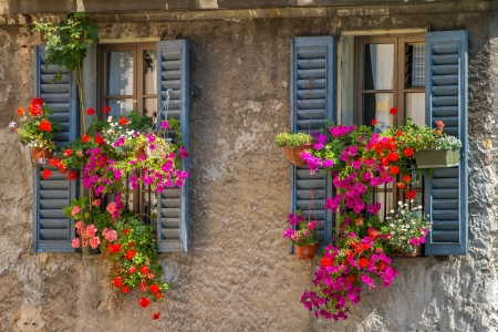 wooden facade: Vintage windows with open wooden shutters and fresh flowers