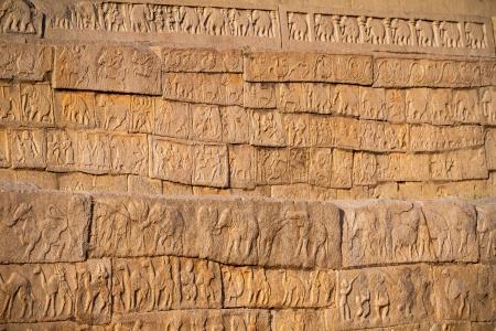 HAMPI, INDIA - FEBRUARY 4: Carved statues in the Hindu temple in Hampi, Karnataka on February 4, 2013. Hampi is located within the ruins of Vijayanagara, the former capital of the Vijayanagara Empire.