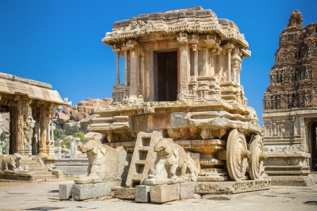 Chariot and Vittala temple at Hampi, India photo