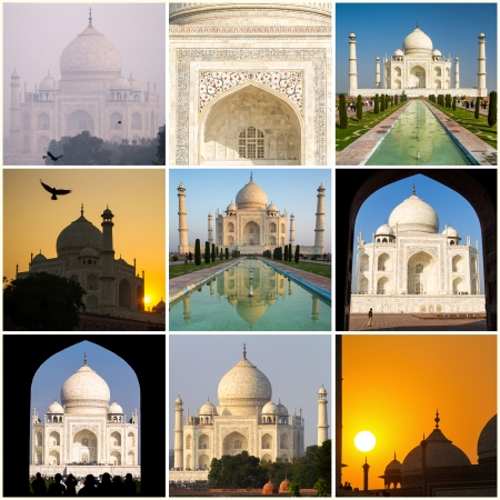 Taj Mahal collage made of nine various photos photo