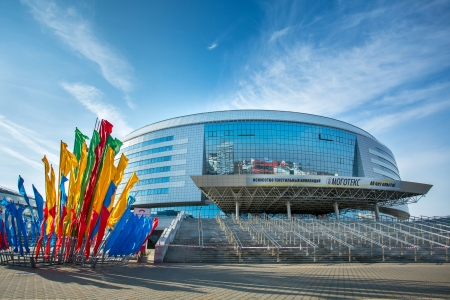 MINSK, BELARUS - NOVEMBER 1: Minsk Arena Complex - one of the 2014 Ice Hockey World Championship venues with a capacity around 15000 - on November 1, 2013 in Minsk, Belarus. 2014 IIHF World Championship will be hosted by Belarus in its capital Minsk.
