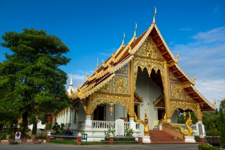 Wat Phra Singh Woramahaviharn temple in Chiang Mai Thailand photo & Thai Ancient Art Gold Angel Painting On Church Door In Wat Phra ...