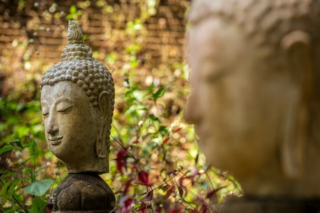 stone buddha: Stone Buddha head statue