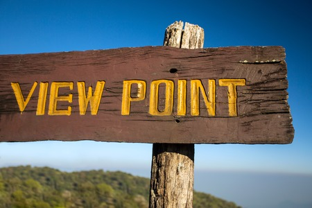 Old wooden viewpoint sign on a tourist trail Stock Photo