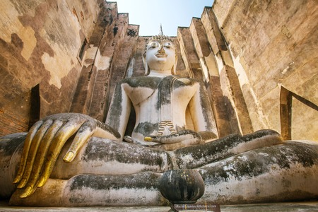 chum: Buddha statue in Wat Sri Chum temple, Sukhothai Historical Park, Thailand Stock Photo