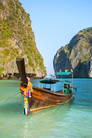 Longtail boat in Maya Bay, Koh Phi Phi Leh, Krabi, Thailand photo