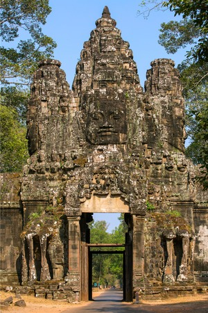 Ancient gates of Angkor Thom in Angkor Wat complex, Siem Reap, Cambodia photo