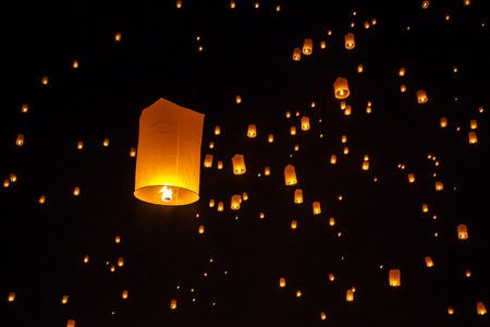 sky lantern: Floating sky lanterns during Yi Peng Festival in Chiang Mai, Thailand Stock Photo