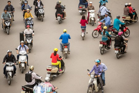 old quarter: HANOI - 8 APRIL: Top view of people and traffic in Hoan Kiem district (old quarter) in Hanoi, Vietnam, on April 8, 2014.