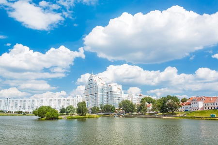 svisloch: Nemiga district and Svisloch river in Minsk, Belarus Stock Photo