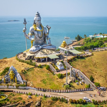 karnataka: Statue of Lord Shiva in Murudeshwar Temple in Karnataka, India Stock Photo