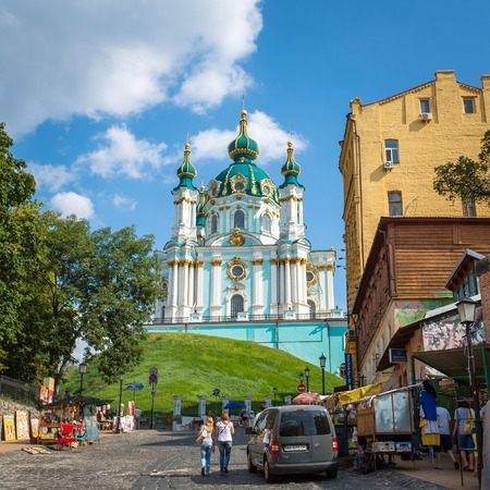 bartolomeo rastrelli: UKRAINE, KYIV - 10 Aug, 2014: Saint Andrew orthodox church is a major Baroque church in Kyiv, Ukraine. The church was constructed in 1747-1754 by Italian architect Bartolomeo Rastrelli