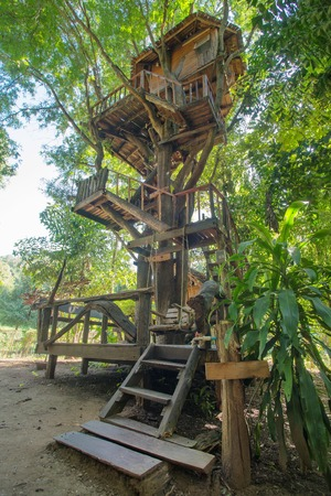 hotel balcony: Beautiful tree house in Chiang Mai province, Thailand Stock Photo