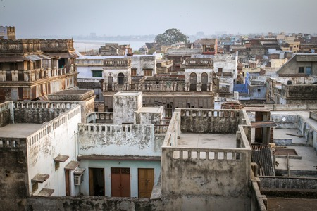 uttar: Top view of Varanasi city rooftop and houses
