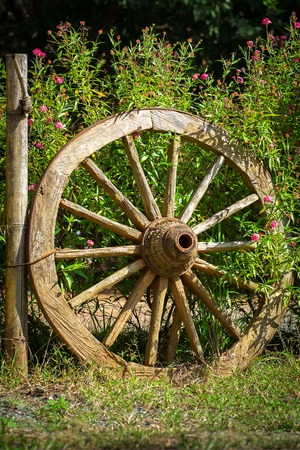 An Old Wagon Wheel Displayed As A Garden Decoration Stock Photo   36813225