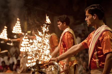 Varanasi, India - March 20, 2013: Unidentified young novices on Ganga Aarti ceremony in Varanasi, India