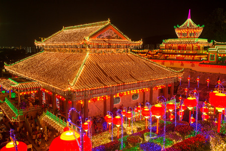 chinese pagoda: Beautifully lit-up Kek Lok Si temple in Penang during the Chinese New Year.