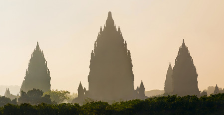 indonesia culture: Sunrise over Prambanan temple near Yogyakarta on Java island, Indonesia