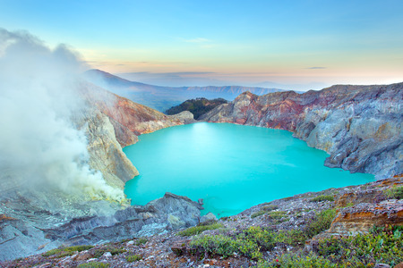 Sunrise at Kawah Ijen, panoramic view, Indonesia Stok Fotoğraf