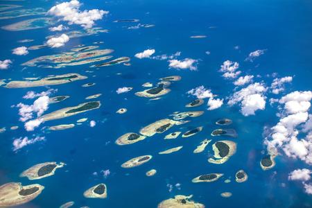 corales marinos: Thousand Island, cerca de Yakarta, vista aérea del avión Foto de archivo