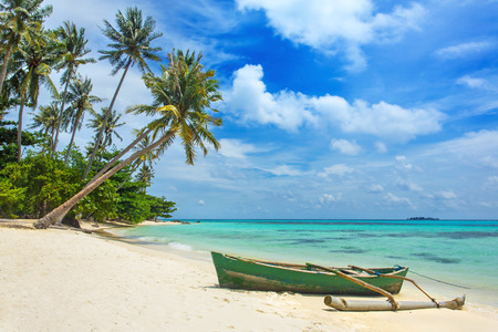 Boat on the beautiful tropical beach on Karimunjawa island, Indonesia Reklamní fotografie
