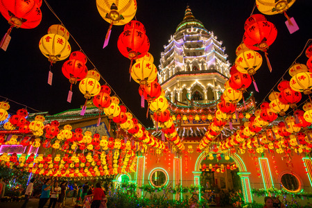 malaysia: Penang, Malaysia - February 27, 2015: Beautifully lit-up Kek Lok Si temple in Penang, Malaysia during the Chinese New Year.