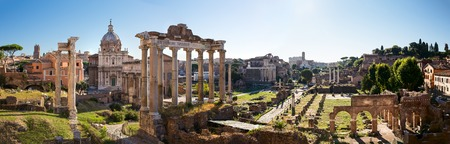 Forum Romanum view from the Capitoline Hill in Italy, Rome. Panorama Stock Photo