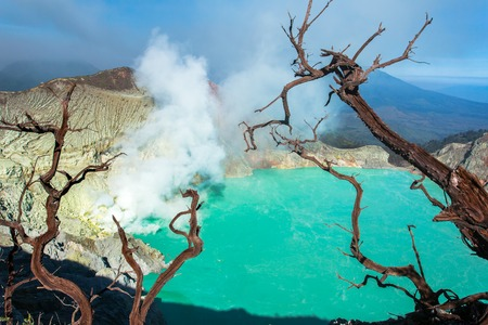 cataclysm: Kawah Ijen vulcano, Java, Indonesia Stock Photo