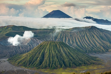 tengger: Mount Bromo and Batok volcanoes in Bromo Tengger Semeru National Park, Indonesia.
