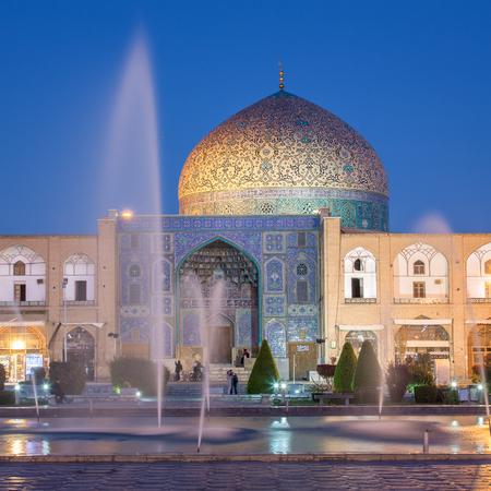 isfahan: Sheikh Lotfollah Mosque at Naqhsh-e Jahan Square in Isfahan, Iran. Night shot.