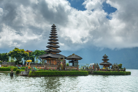 danu: Pura Ulun Danu temple on a lake Beratan. Bali ,Indonesia Stock Photo