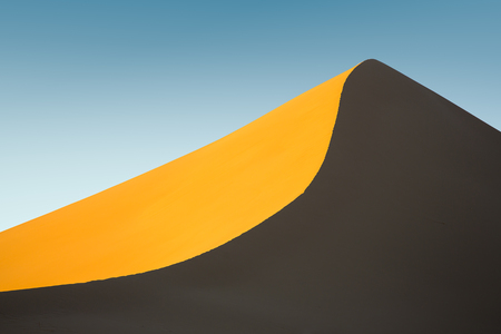 untouched: Untouched sand dune at sunset in Iran Stock Photo