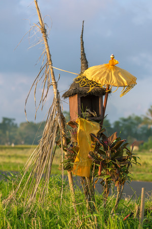 balinese: Traditional Balinese house of spirits on rice field, Bali, Indonesia