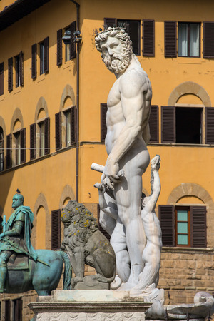 commissioned: Fountain of Neptune in Florence, Piazza della Signoria, Italy. The fountain was commissioned in 1565 and is the work of the sculptor Bartolomeo Ammannati. Stock Photo