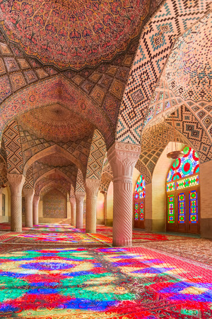 shiraz: Nasir Al-Mulk Mosque in Shiraz, Iran, also known as Pink Mosque