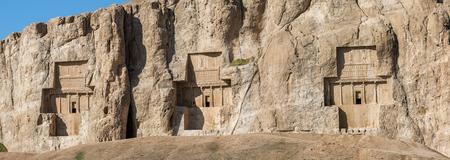 necropolis: Naqsh-e Rustam, an ancient necropolis in Pars Province, Iran. Panorama view