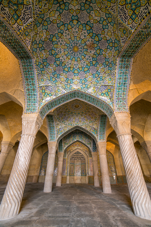 shiraz: Beautiful columns in Vakil Mosque, Shiraz, Iran